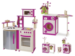 Wooden toy kitchen and Washing Center 4813, 4814